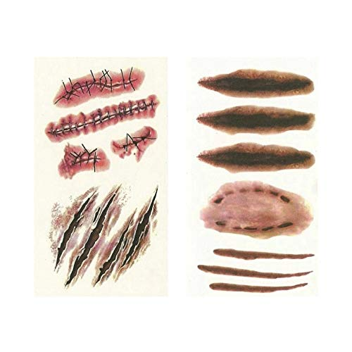 Halloween costumes Ideas designs Wound Sticker 4P Tatoo Makeup Party Horror Zombie A, B Type custom fake tattoos