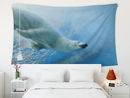 Crannel Psychedelic Tapestry Underwater Photo Polar Bear Tapestry 80x60 Inches Wall Art Tapestries Hanging for Dorm Room Living Home ()
