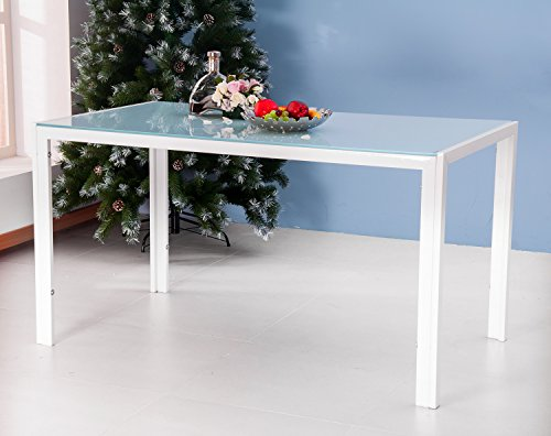 Merax 47 Inch Contemporary White Rectangle Dining Table with Tempered Glass Top Metal Legs (White)