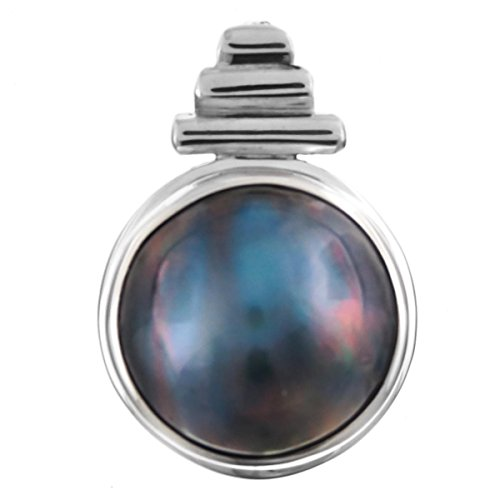 - Handmade Blue Mabe Cultured Pearl 925 Sterling Silver Pendant, 7/8