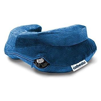 Coussin et housse de cou de voyage gonflables Cabeau Air Evolution Bleu Housse lavable en velours Compressez /à la taille dune canette pour un rangement facile Confort du cou et soutien du menton /à 360 degr/és