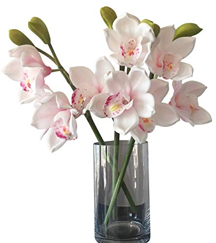 (Orchid Stems - Latex Real Touch Orchids -(White/Soft Pink)- Hand Made-Petals Delicate and Rich in Detail -Hand Painted Centres- Comes in a Gift Box - 3 x Stems,9 x Flowers 6 x buds)