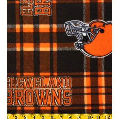 Cleveland Browns Checker Fleece Blanket And Pillowcase Crib Set 4