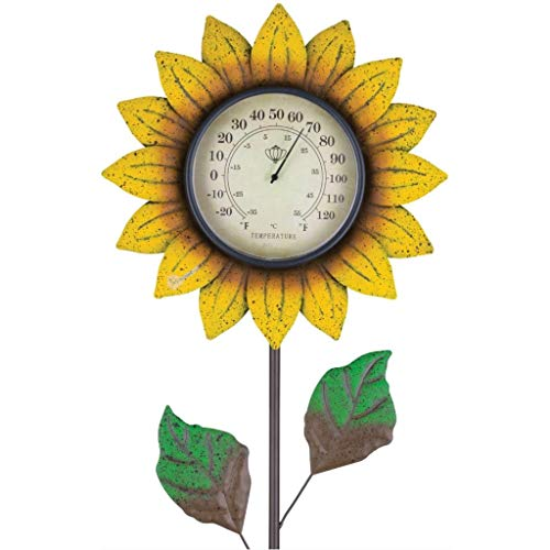 (Regal Art & Gift 12327 Flower Thermometer Yellow Garden Stake )
