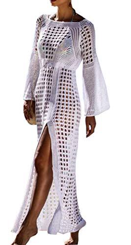 - Wander Agio Beach Tops Sexy Floral Cover Dresses Bikini Cover-ups Net Long Skirt White
