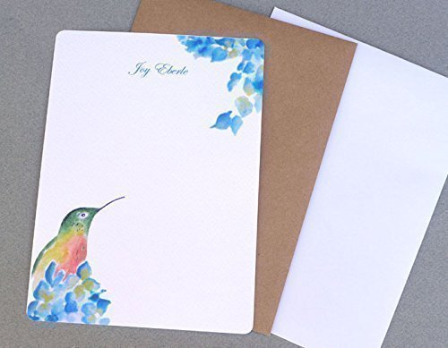 Hummingbird & Hydrangea Personalized Flat Note Card Stationery for Girl's Set Of 12, Women's Monogrammed Floral Stationary Set, Garden Inspired Correspondence Cards, Custom Note Card ()