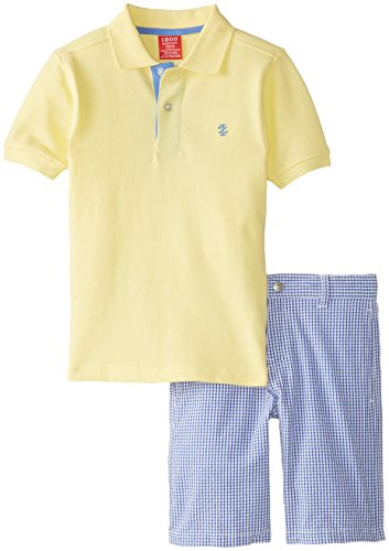 Izod Little Boys' Solid Polo with Plaid Short 2 Piece Set, Light Yellow, 7 (Large)