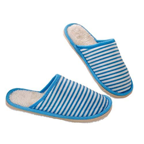 Bleu Antiderapant Chaussures Hommes Intérieur Sole Pour Coton Simplement Femmes Hiver Eva Rayé Unisexe Pantoufles Invités Iqxzw6Pw
