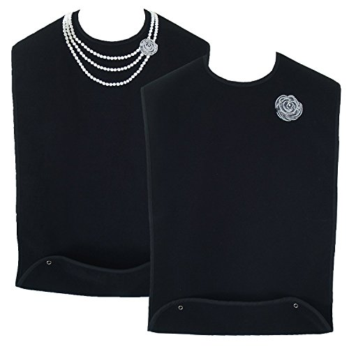 Classy Pal | Adult Bib for Women with Embroidered Design. Waterproof, Reusable & Washable | 2 Pack (Pearl Necklace + Silver