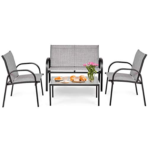 Tangkula 4 Piece Patio Furniture Outdoor Sofa Garden Lawn Sectional Conversation Set Outdoor Garden Poolside Glass Top Tea Coffee Table and Chairs with Smooth Armrest (Gray) (Outdoor Ikea Furniture Sectional)