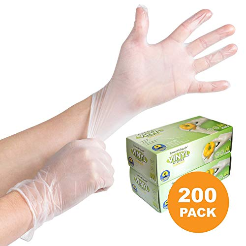200 Disposable Viny Gloves, Non-Sterile, Poweder Free, Smooth Touch, Food Service Grade, Large Size [2x100 Pack] by Sunset Brands