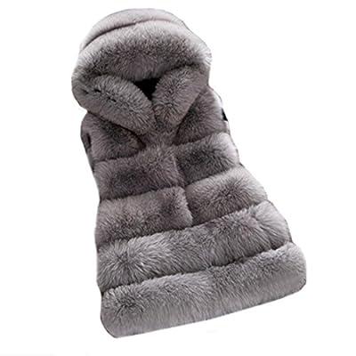 women winter coat Faux fur coat hooded vest stripe long vest S-4XI size