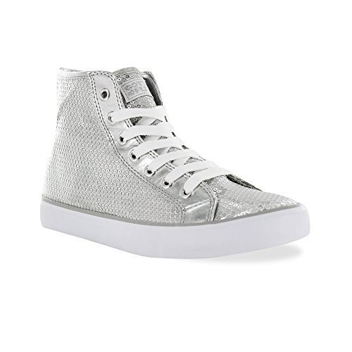 Gotta Flurt Hi Disco II Lace Up Low Top Sneaker, Silver, 7 -