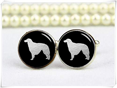 Borzoi Cuff links, Dog Cufflinks, Personalized Cuff Links, Pet Cuff Links,Dome glass ornaments, hand-made