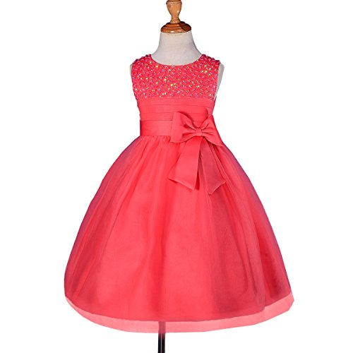 Designs Satin Flower Girl Dress - Dressy Daisy Girls' Girls' Beaded Satin Tulle Flower Girl Dresses For Wedding Pageant Party 3-4T Coral
