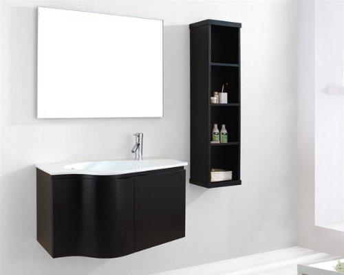 Virtu USA ES-1236-C-ES Roselle 36-Inch Wall-Mounted Single Sink Bathroom Vanity Set with White Ceramic Countertop, Espresso Finish - Single Bathroom Vanity