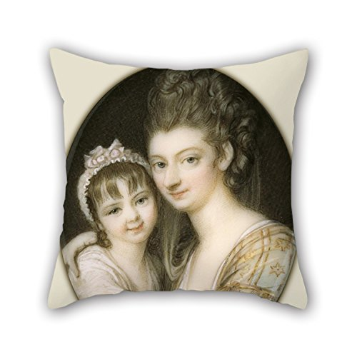 Price comparison product image Loveloveu 20 X 20 Inches / 50 By 50 Cm Oil Painting Richard Cosway - Portrait Of A Mother And Daughter Throw Pillow Covers, each Side Is Fit For Bar Seat, sofa, divan, christmas, teens Girls, bar