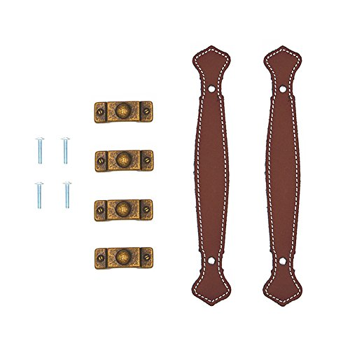 Leather Trunk Handle - Surface Leather Furniture Handle Modern Style Leather Handle Door Pull Handle (Brown Hole to Hole 128mm) Pack of 2