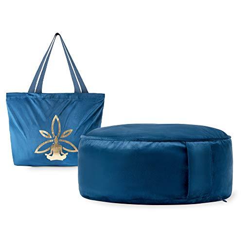Cojin Yoga Zafu Meditación - Cojín de Suelo Azul para la Práctica de la Meditación - Accesorio Yoga para Mujer - Cojín Meditación Azul con Trigo y con Aroma a Yoga a buen precio