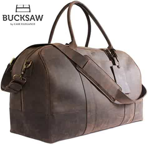 cba10eb1dd Bucksaw Travel Leather Duffel Bag For Men - Full Grain Premium Leather  Weekender - Brown