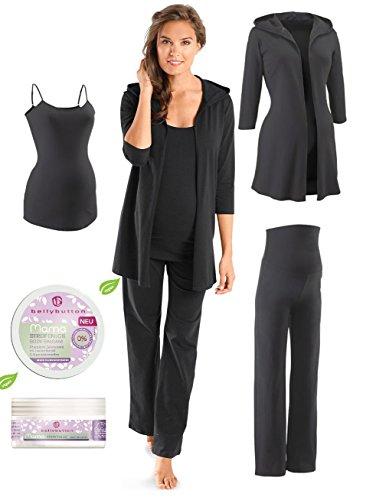 4 teiliges Set Umstandsmode, Nachwäsche Damen Pyjama / Schlafanzug Damen Schlafanzugoberteil Schlafanzughose