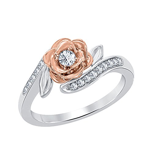 RUDRAFASHION Lovely 0.35ctw 14k Rose & White Gold Plated 925 Sterling Silver Created White Sapphire Fashion Ring-Flower Ring