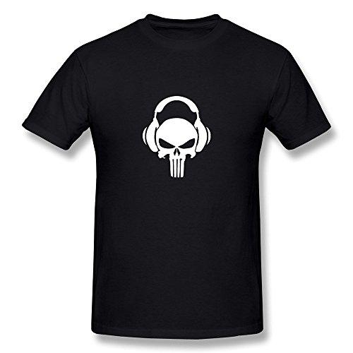 Hsuail Men's Punisher Skull Headphones T-Shirt Black US Size S