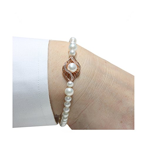 Mayumi-Bracelet Perles Parfaite Perlagione 1/4 2 1/2 X 6 X 7-7/8 mm-Argent 925-Rh ° ° ° Rose C.Z.