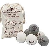 Wool Dryer Balls by Ayaprak 6-Pack, 100% Pure Handmade Organic Reusable Natural Fabric Softener (Gray)
