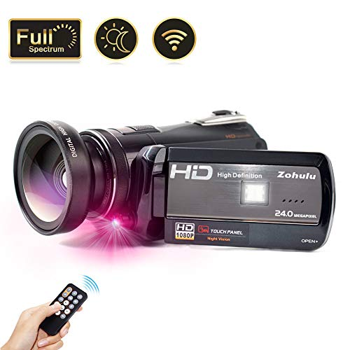 2019 Video Camera Vlogging Camera for YouTube, 1080P FHD 30FPS WiFi Full Spectrum Camcorder, Night Vision Paranormal Investigation Ghost Hunting Camera with 18X Digital Zoom (2 Batteries Included) (Best Infrared Camera For Ufo)