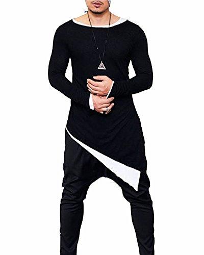 (CIC Collection Men's Long Sleeve Slim Fit Irregular Hem Hipster Hip Hop T-Shirt Blouse)