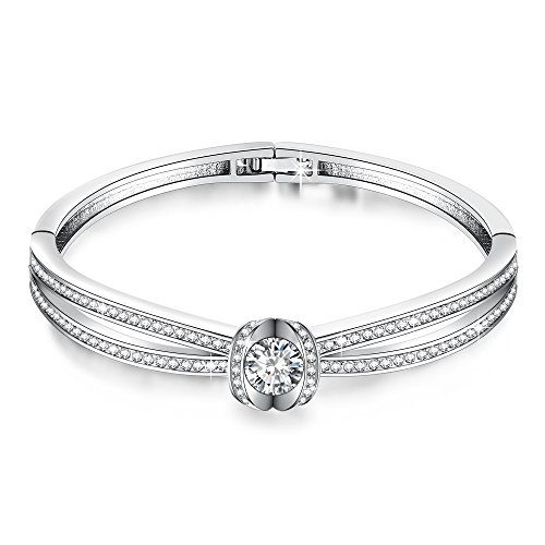 GEORGE · SMITH California Grace 7 Inches Charm Women Love Bangle Bracelets with Swarovski Crystals Birthday Jewelry for Wife Mom