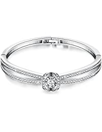 Mother's Day Gifts❤️California Grace 7 Inches Charm Women Love Bangle Bracelets with Swarovski Crystals Birthday Jewelry for Wife Mom