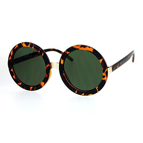 Womens Thick Plastic Round Circle Lens Mod Designer Sunglasses Tortoise - Green Tortoise The