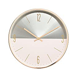 Luxury Modern 12 Two Toned Metal Design Silent Non-Ticking Wall Clock with Rose Gold Frame (Sandy Pink)