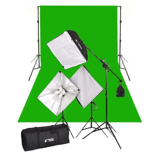 CowboyStudio Complete Photography and Video Stuido 2000 Watt Softbox Continuous Lighting Boom Kit with 10ft x12ft Chromakey Green Muslin Background and Backdrop Support Stands by CowboyStudio