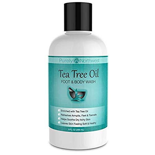 Antifungal Tea Tree Oil Body Wash, Helps Athletes Foot, Ringworm, Toenail Fungus, Jock Itch, Acne, Eczema & Body Odor- Soothes Itching & Promotes Healthy Feet, Skin and Nails - Antifungal Nail Cream
