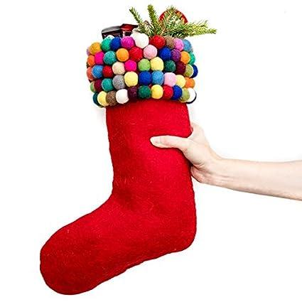 darn good yarn handmade christmas stocking kit with felt balls 100 wool felt - Handmade Christmas Stockings