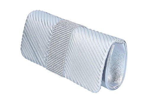 Bolsa mujer MICHELLE MOON pochette plata de mano de ceremonia + strass N867