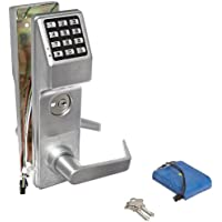 Alarm Lock Stainless Steel Trilogy T3 300-User Weatherproof Electronic Digital Keypad Classroom Mortise Lock Leverset, Left Hand, Straight Lever Classroom Function, Satin Chrome Finish
