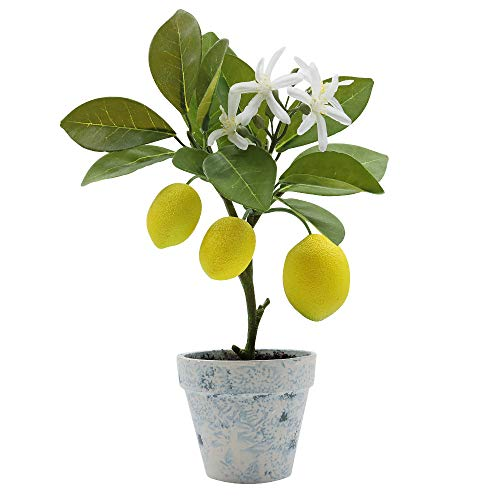 (Artificial Lemon Tree Plant Topiary, Potted Fake Plants Flower Home Party Garden Decoration)