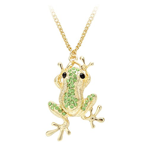 (SENFAI Rhinestone Crystal Elegant Frog High-Grade Lovely Pendant Necklace Fashion Jewelry for Women (Gold) (Gold) )