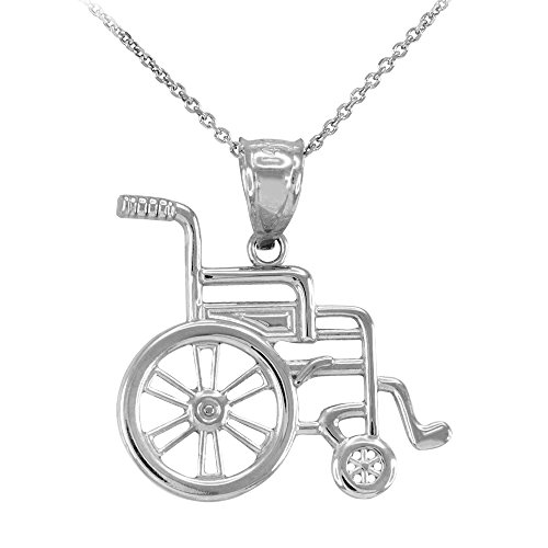 925 Sterling Silver Hospital Handicap Wheel Chair Charm Pendant Necklace, 16