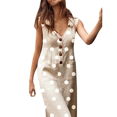 (TOTOD Women's Elegant Dot Print Boho Dress Turn-Down V-Neck Button Pocket Tank Dresses Khaki)