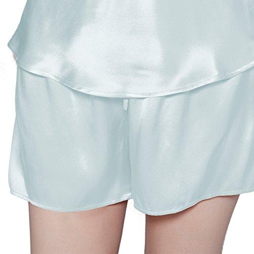 LILKSILK Conjunto de Camisola de Seda - 100% Seda de Mora Natural de Seda de 22 MM, Ideal para Verano Celeste Claro