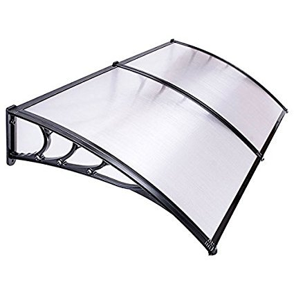 78x39x11 Inches 6.5 Ft Overhead Clear Polycarbonate Door Window Outdoor Awning Canopy w/ Mounting Hardware for Patio Cover Sun Shade UV Rain Protection