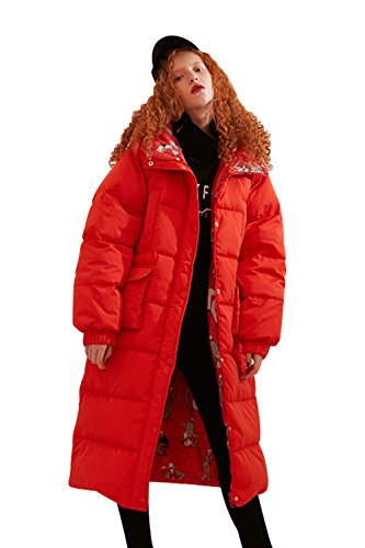 Elf Sack Women's Long Hooded Down Jacket Winter Coat With Big Pockets Red (Red Coats Sack)