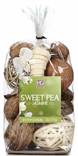 Hosley Sweet Pea Jasmine Chunky Potpourri, 5 Oz, Ideal for Party Favor, Weddings, Spa, Reiki, Meditation, Bathroom Settings. O4