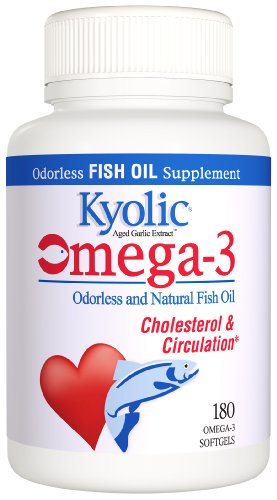 Kyolic Aged Garlic Extract Omega-3 Cardiovascular Softgels (90 Softgels) Heart Healthy Odorless Organic Garlic & EPA DHA Fish Oil Supplement, Soy- Dairy- Gluten-Free, Gentle on the Gut Garlic (Epa Garlic Extract)