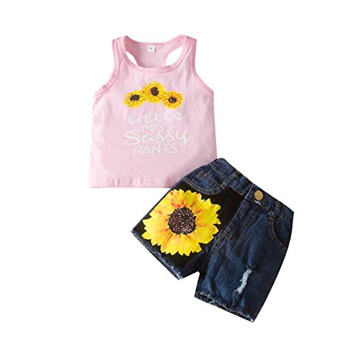 Baby Clothing Kids Summer Clothes Girls Flower Printing Vest + Pure Color Pants Children Clothing Set